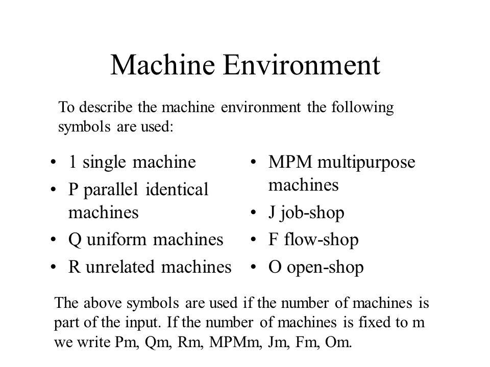 Machine Environment 1 single machine P parallel identical machines Q uniform machines R unrelated machines MPM multipurpose machines J job-shop F flow