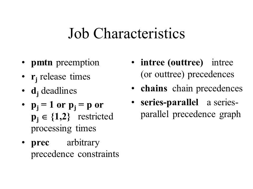 Job Characteristics pmtn preemption r j release times d j deadlines p j = 1 or p j = p or p j {1,2} restricted processing times prec arbitrary precede