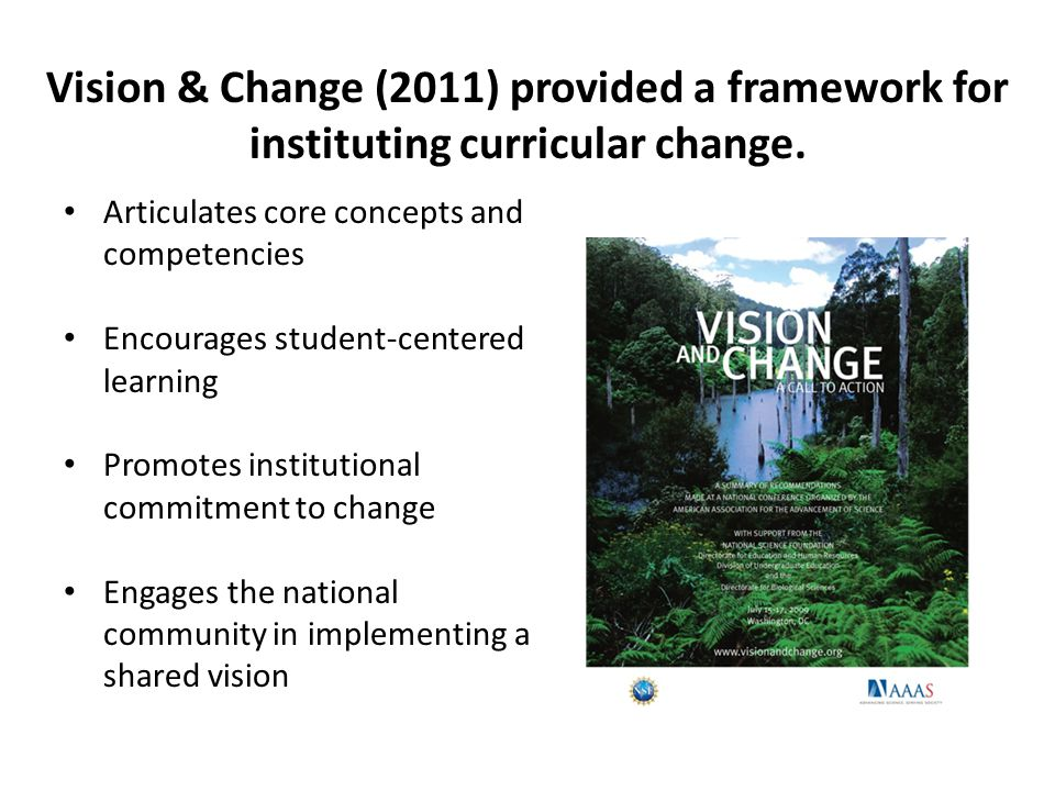Articulates core concepts and competencies Encourages student-centered learning Promotes institutional commitment to change Engages the national community in implementing a shared vision Vision & Change (2011) provided a framework for instituting curricular change.