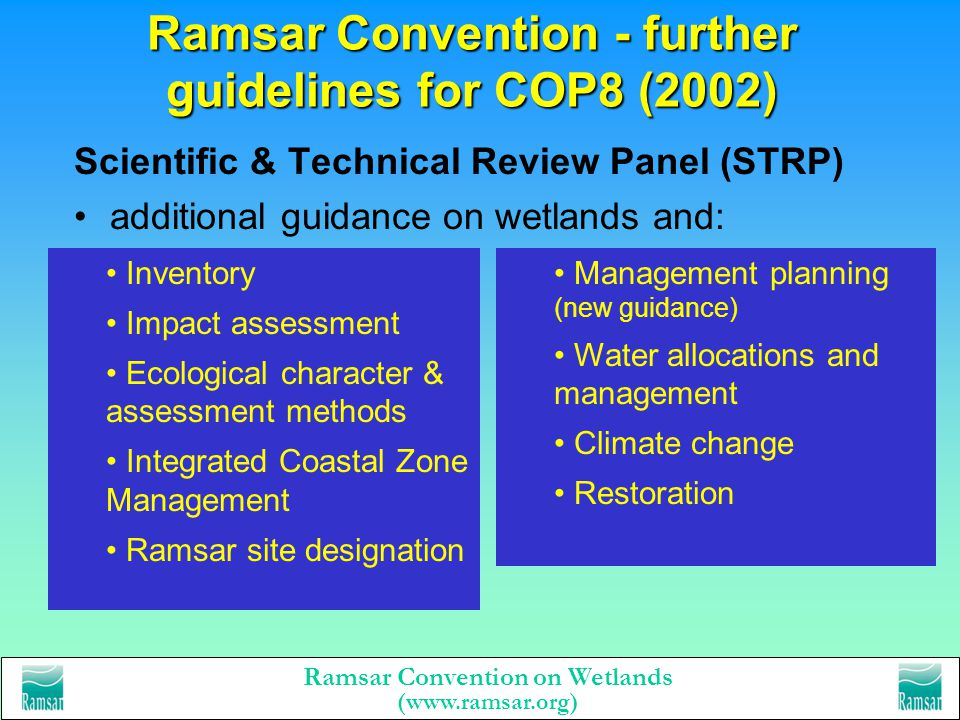 Ramsar Convention on Wetlands (www.ramsar.org) The Ramsar tool-kit - wise use handbooks 1. Wise Use of Wetlands 2. National Wetland Policies 3. Review