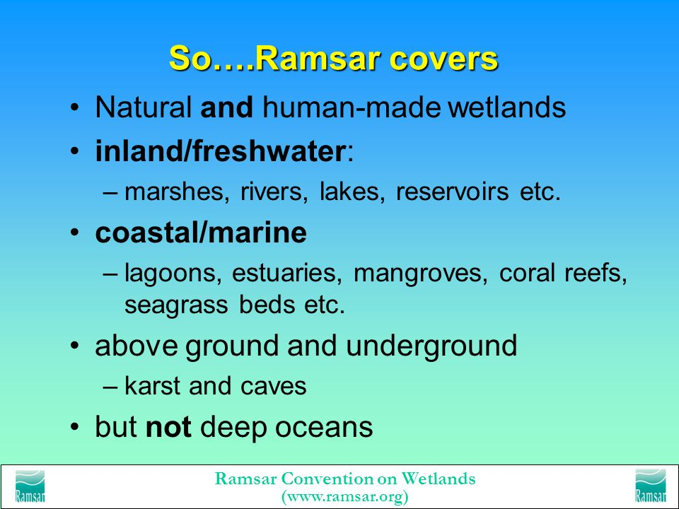 Ramsar Convention on Wetlands (www.ramsar.org) Ramsars definition of wetland wetlands are areas of marsh, fen, peatland or water, whether natural or a
