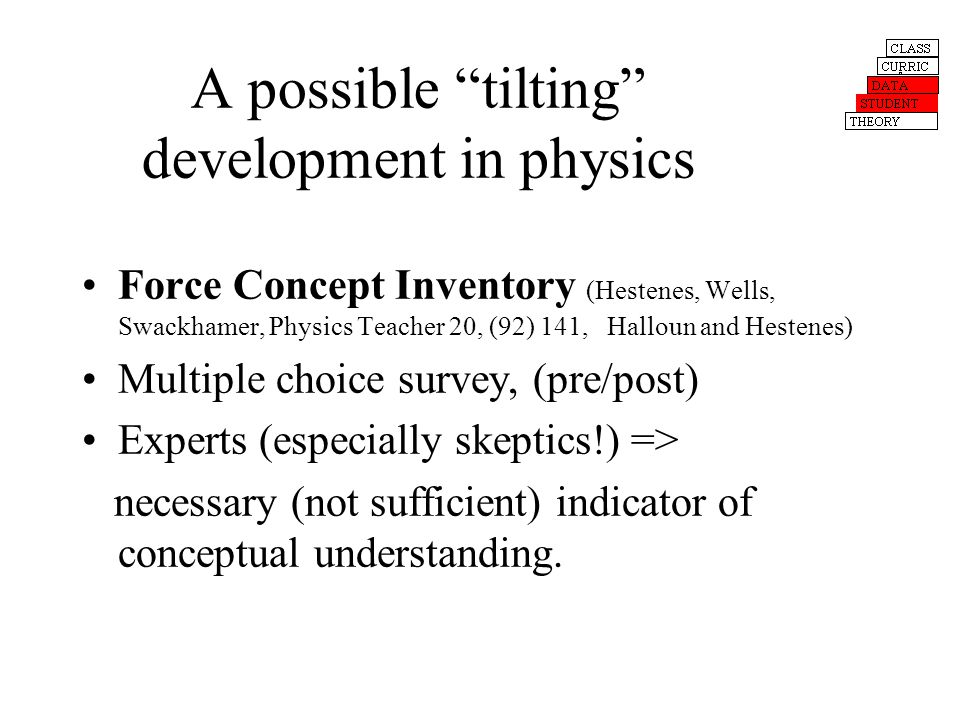 A possible tilting development in physics Force Concept Inventory (Hestenes, Wells, Swackhamer, Physics Teacher 20, (92) 141, Halloun and Hestenes) Multiple choice survey, (pre/post) Experts (especially skeptics!) => necessary (not sufficient) indicator of conceptual understanding.