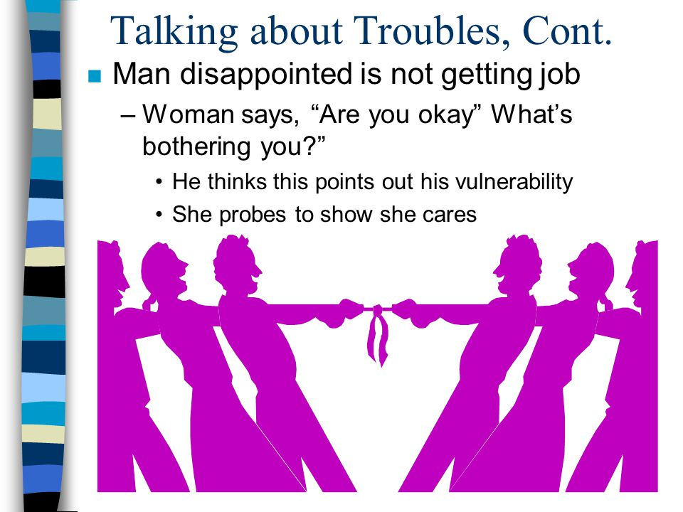 Talking about Troubles, Cont. n Man disappointed is not getting job –Woman says, Are you okay Whats bothering you? He thinks this points out his vulne