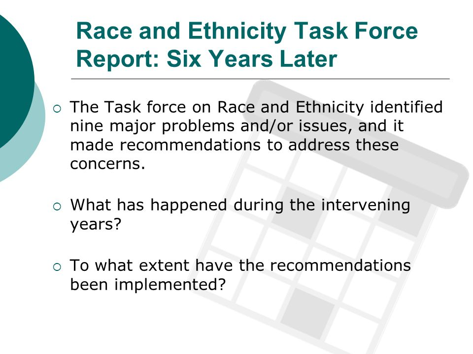 Race and Ethnicity Task Force Report: Six Years Later The Task force on Race and Ethnicity identified nine major problems and/or issues, and it made recommendations to address these concerns.
