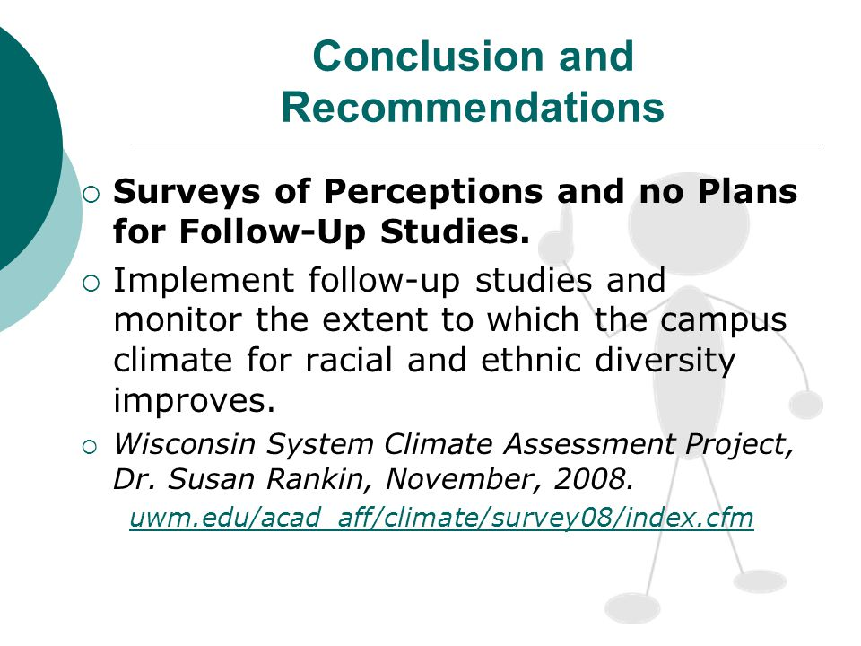 Conclusion and Recommendations Surveys of Perceptions and no Plans for Follow-Up Studies.