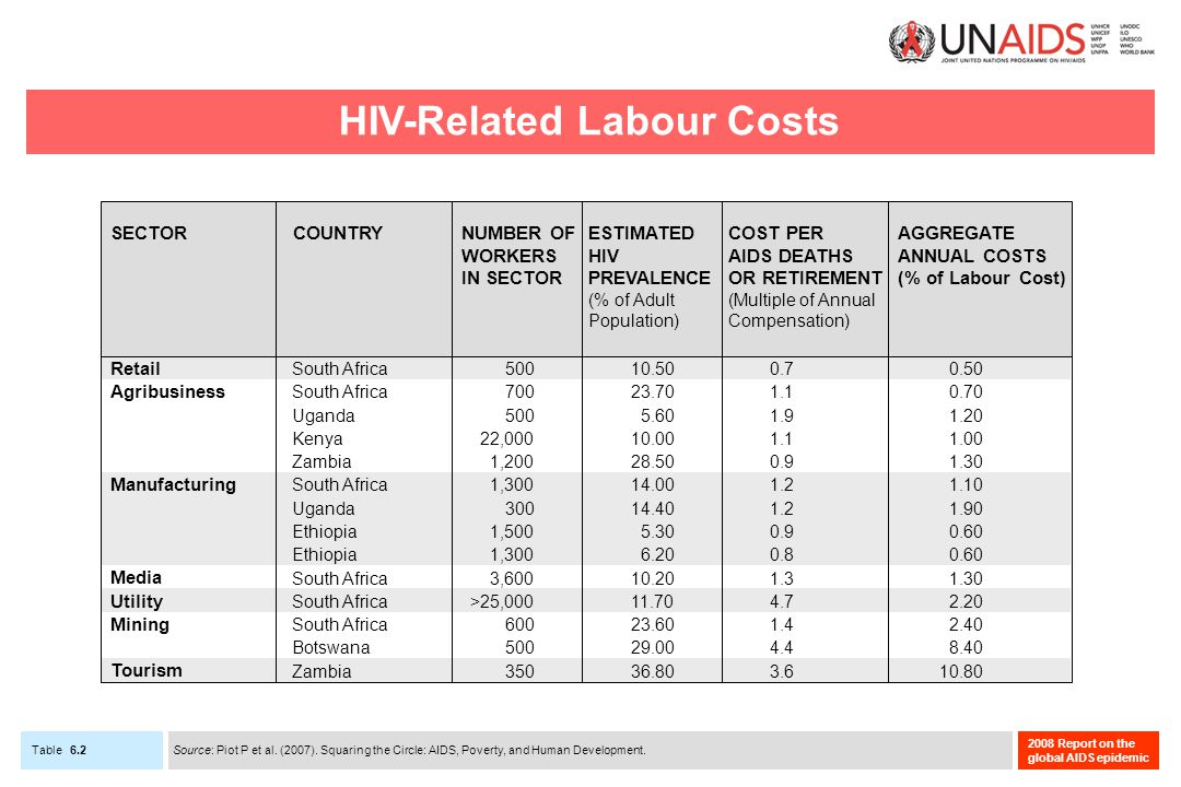 Table 2008 Report on the global AIDS epidemic 6.2 HIV-Related Labour Costs Source: Piot P et al.