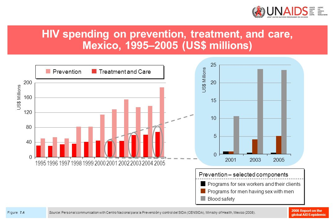 Figure 2008 Report on the global AIDS epidemic HIV spending on prevention, treatment, and care, Mexico, 1995–2005 (US$ millions) 7.4 Source: Personal communication with Centro Nacional para la Prevención y control del SIDA (CENSIDA), Ministry of Health, Mexico (2008).