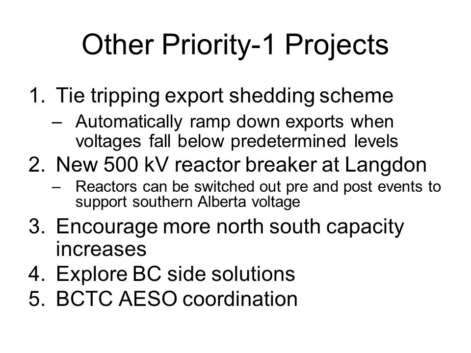 Other Priority-1 Projects 1.Tie tripping export shedding scheme –Automatically ramp down exports when voltages fall below predetermined levels 2.New 5