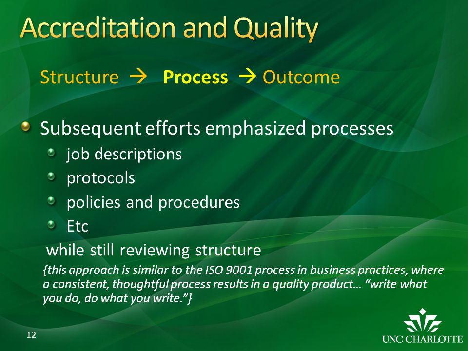 Structure Process Outcome Subsequent efforts emphasized processes job descriptions protocols policies and procedures Etc while still reviewing structu