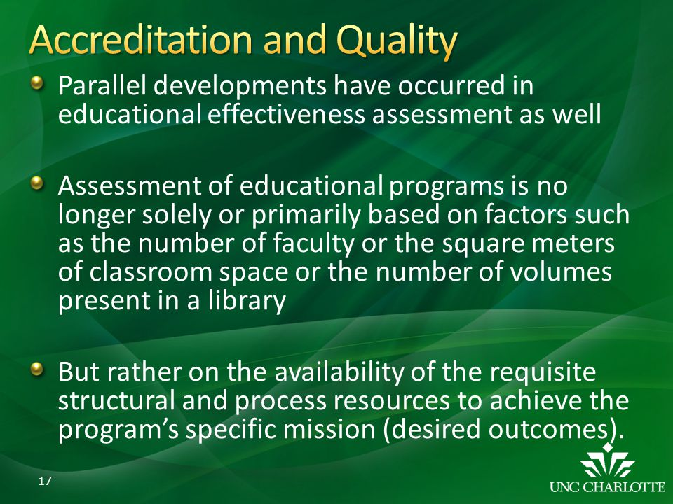 Parallel developments have occurred in educational effectiveness assessment as well Assessment of educational programs is no longer solely or primaril