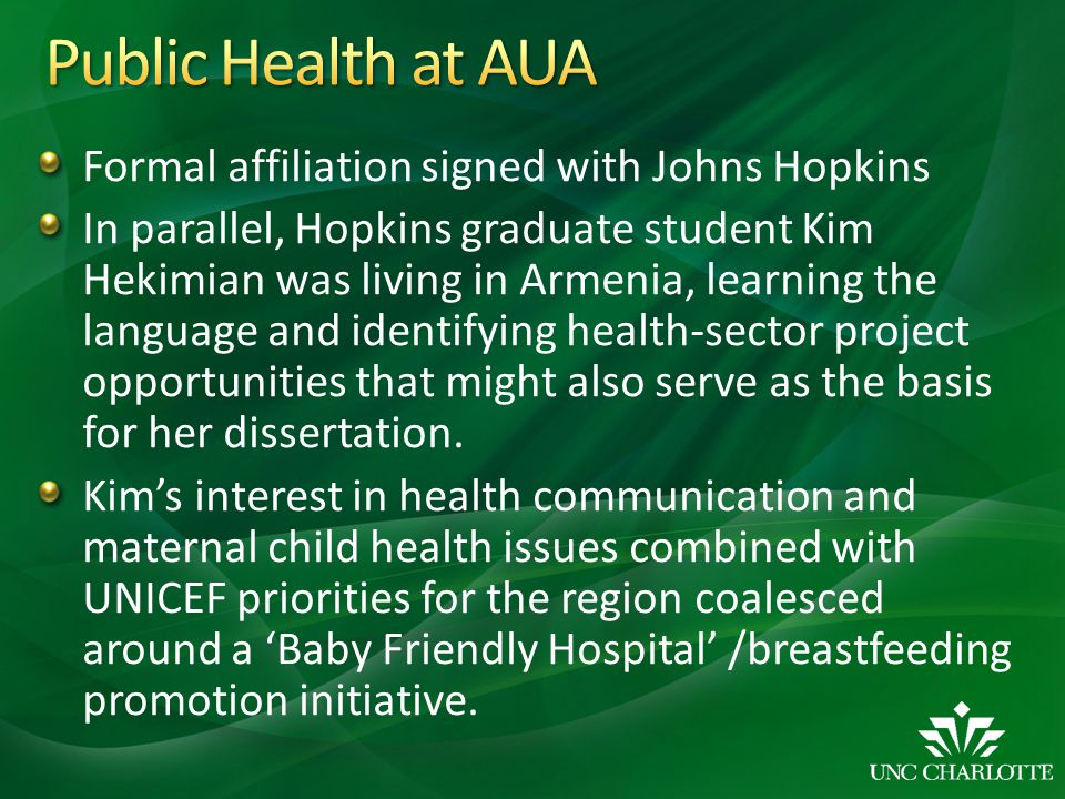 Formal affiliation signed with Johns Hopkins In parallel, Hopkins graduate student Kim Hekimian was living in Armenia, learning the language and ident