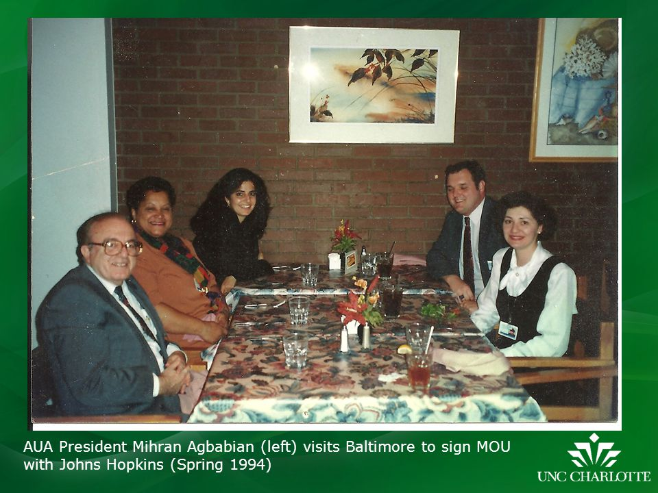 AUA President Mihran Agbabian (left) visits Baltimore to sign MOU with Johns Hopkins (Spring 1994)