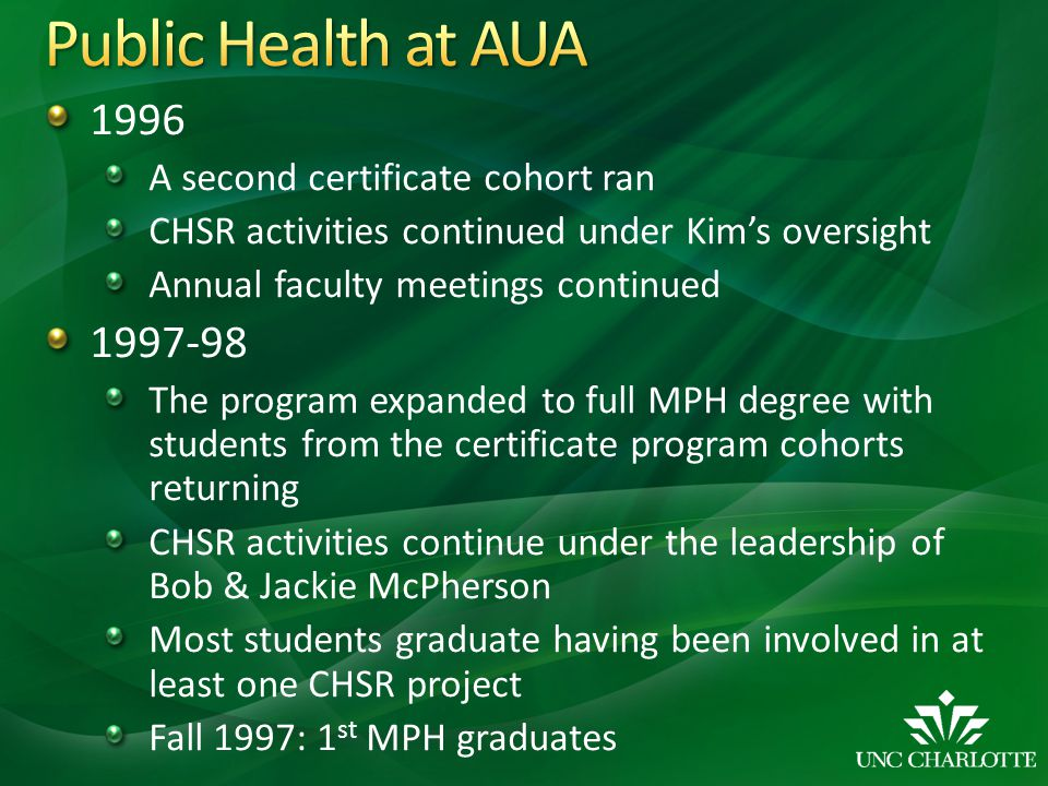 1996 A second certificate cohort ran CHSR activities continued under Kims oversight Annual faculty meetings continued 1997-98 The program expanded to