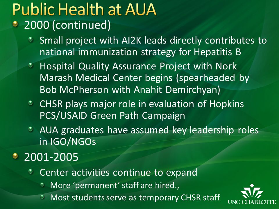 2000 (continued) Small project with AI2K leads directly contributes to national immunization strategy for Hepatitis B Hospital Quality Assurance Proje