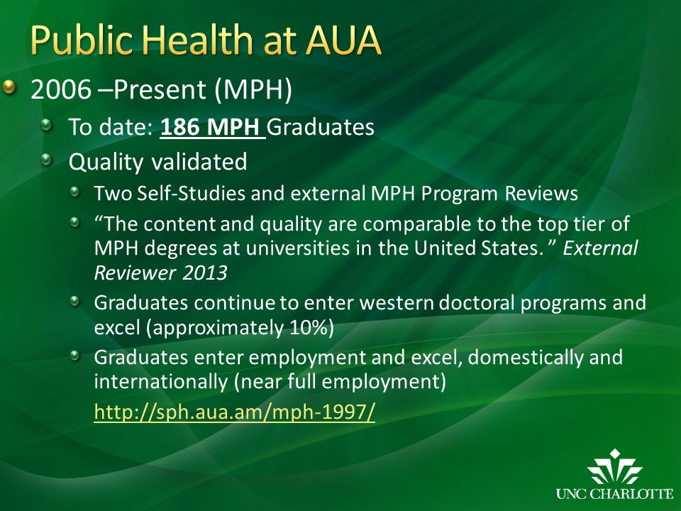 2006 –Present (MPH) To date: 186 MPH Graduates Quality validated Two Self-Studies and external MPH Program Reviews The content and quality are compara