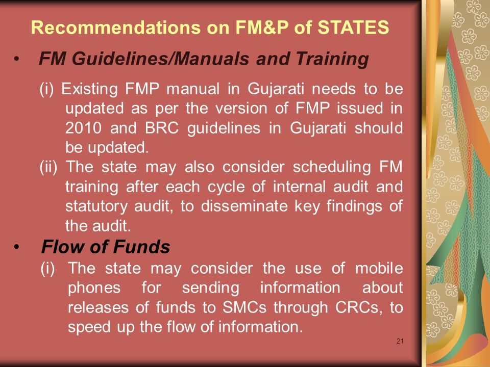21 FM Guidelines/Manuals and Training (i) Existing FMP manual in Gujarati needs to be updated as per the version of FMP issued in 2010 and BRC guideli