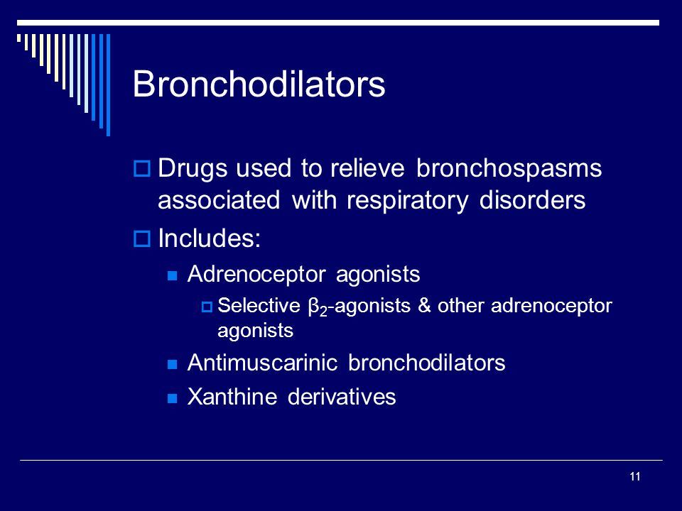 11 Bronchodilators Drugs used to relieve bronchospasms associated with respiratory disorders Includes: Adrenoceptor agonists Selective β 2 -agonists &