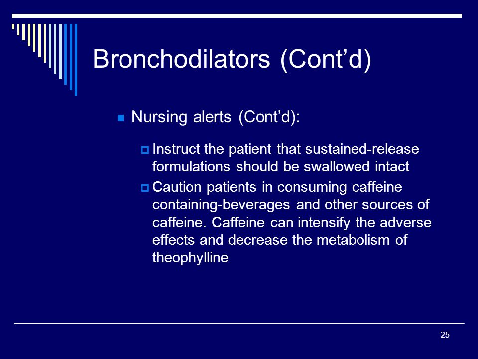 25 Nursing alerts (Contd): Instruct the patient that sustained-release formulations should be swallowed intact Caution patients in consuming caffeine