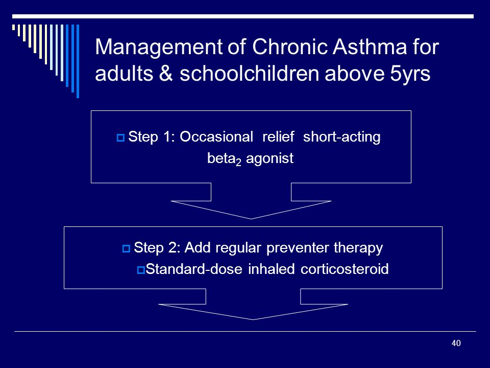 40 Management of Chronic Asthma for adults & schoolchildren above 5yrs Step 1: Occasional relief short-acting beta 2 agonist Step 2: Add regular preve