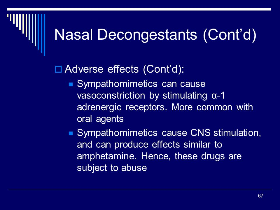 67 Adverse effects (Contd): Sympathomimetics can cause vasoconstriction by stimulating α-1 adrenergic receptors. More common with oral agents Sympatho