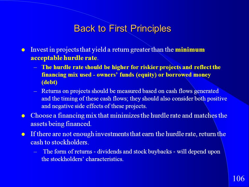 106 Back to First Principles Invest in projects that yield a return greater than the minimum acceptable hurdle rate.