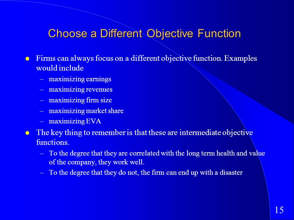15 Choose a Different Objective Function Firms can always focus on a different objective function.