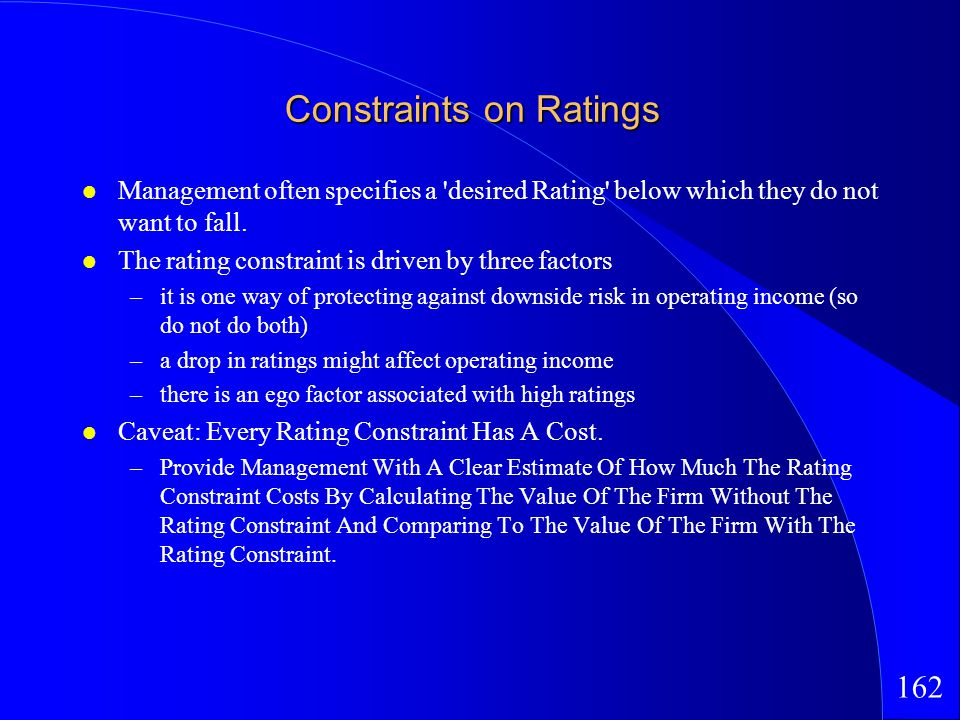 162 Constraints on Ratings Management often specifies a desired Rating below which they do not want to fall.