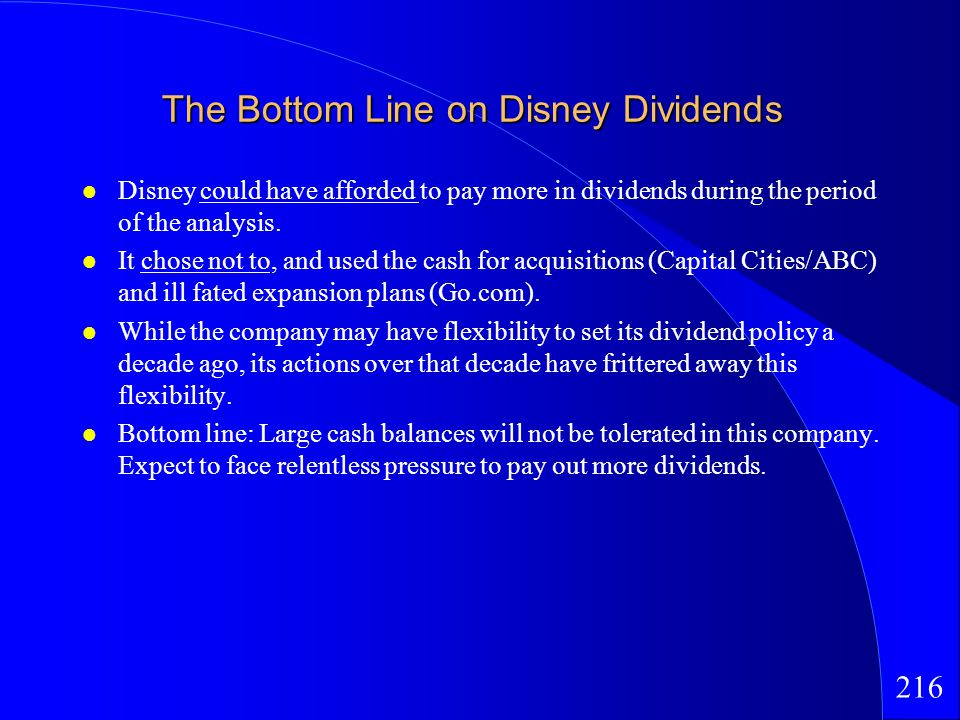 216 The Bottom Line on Disney Dividends Disney could have afforded to pay more in dividends during the period of the analysis.