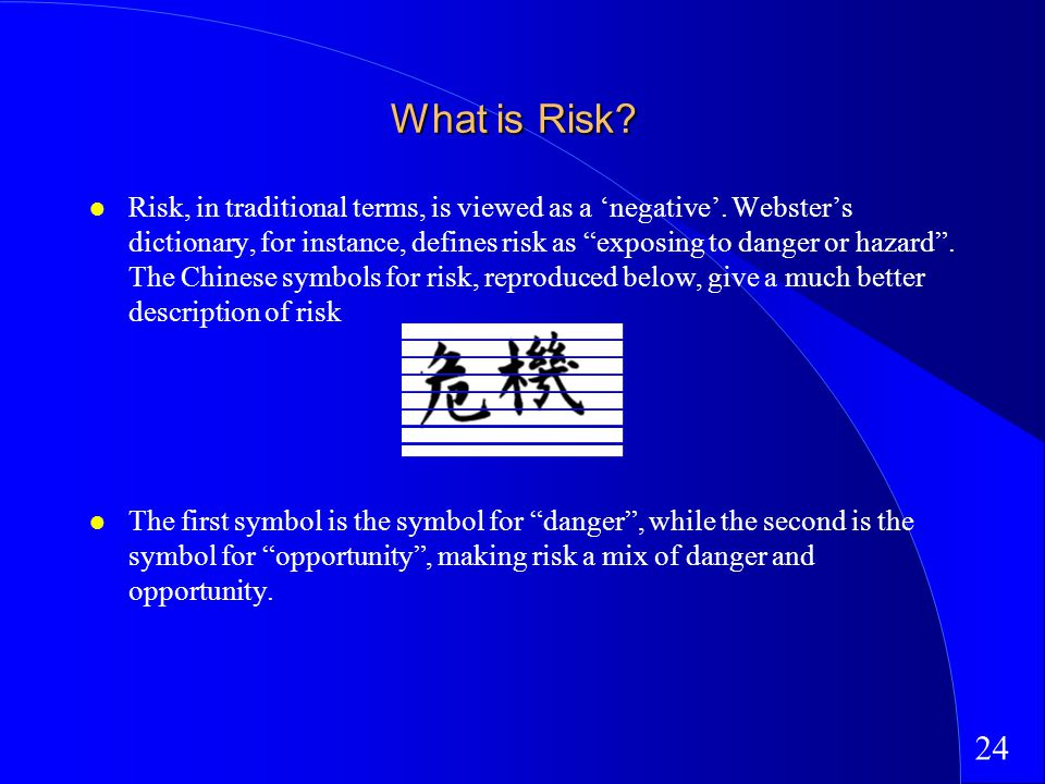 24 What is Risk. Risk, in traditional terms, is viewed as a negative.