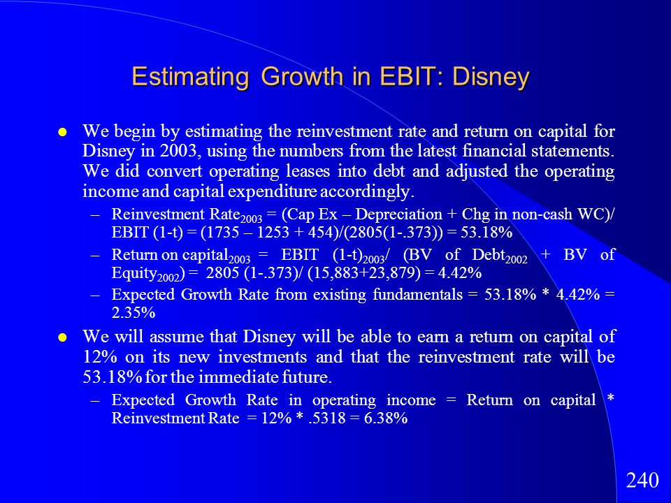 240 Estimating Growth in EBIT: Disney We begin by estimating the reinvestment rate and return on capital for Disney in 2003, using the numbers from the latest financial statements.