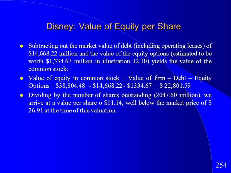 254 Disney: Value of Equity per Share Subtracting out the market value of debt (including operating leases) of $14,668.22 million and the value of the equity options (estimated to be worth $1,334.67 million in illustration 12.10) yields the value of the common stock: Value of equity in common stock = Value of firm – Debt – Equity Options = $38,804.48 - $14,668.22 - $1334.67 = $ 22,801.59 Dividing by the number of shares outstanding (2047.60 million), we arrive at a value per share o $11.14, well below the market price of $ 26.91 at the time of this valuation.