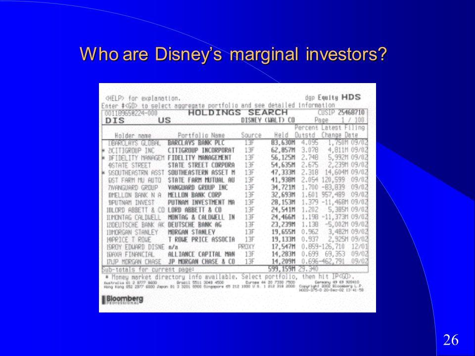 26 Who are Disneys marginal investors?
