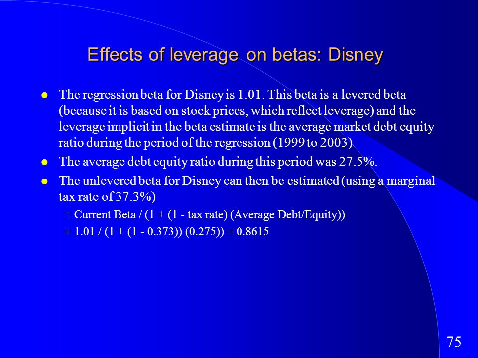 75 Effects of leverage on betas: Disney The regression beta for Disney is 1.01.