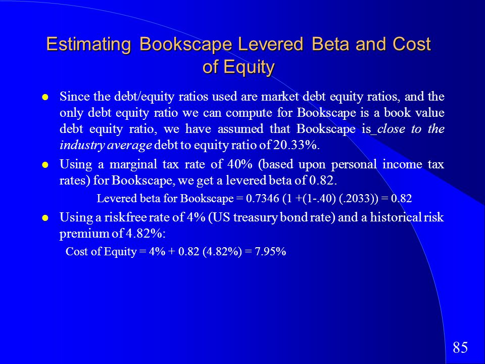 85 Estimating Bookscape Levered Beta and Cost of Equity Since the debt/equity ratios used are market debt equity ratios, and the only debt equity ratio we can compute for Bookscape is a book value debt equity ratio, we have assumed that Bookscape is close to the industry average debt to equity ratio of 20.33%.