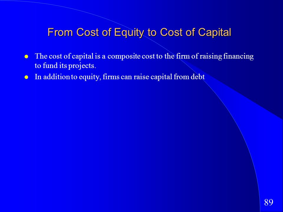 89 From Cost of Equity to Cost of Capital The cost of capital is a composite cost to the firm of raising financing to fund its projects.