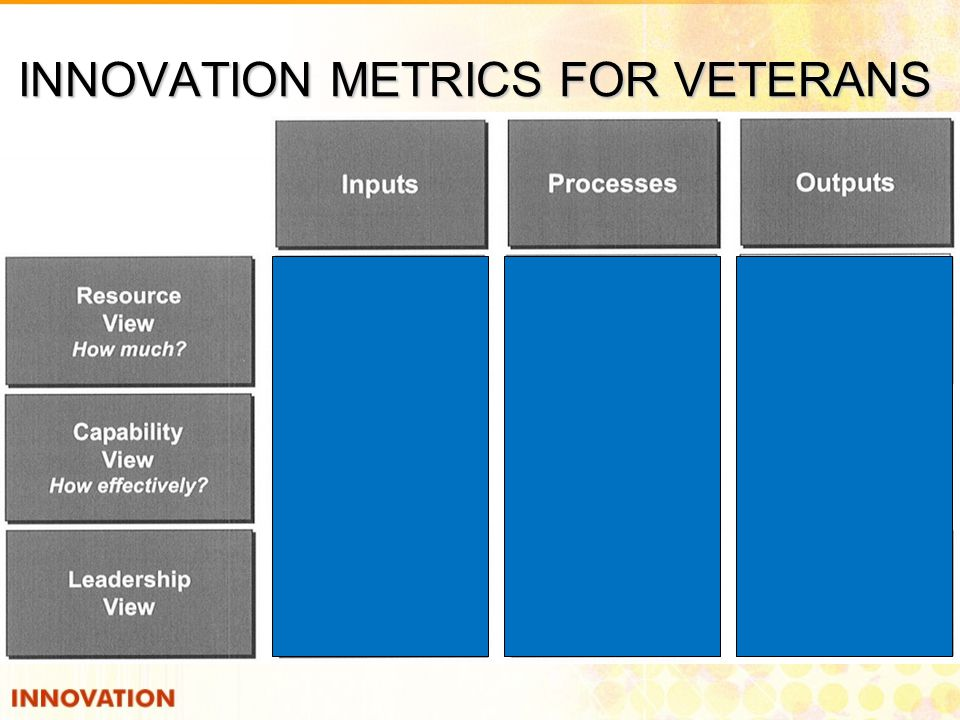 INNOVATION METRICS FOR VETERANS