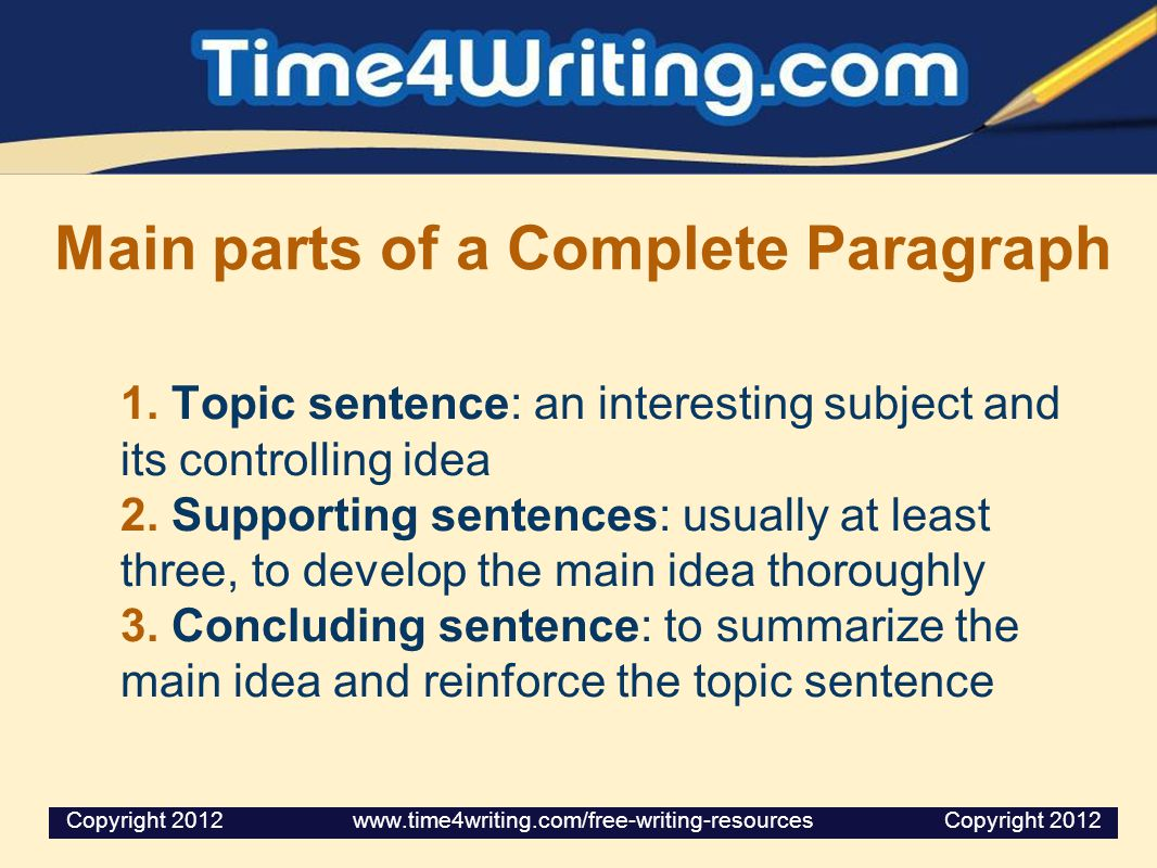Main parts of a Complete Paragraph 1. Topic sentence: an interesting subject and its controlling idea 2. Supporting sentences: usually at least three,
