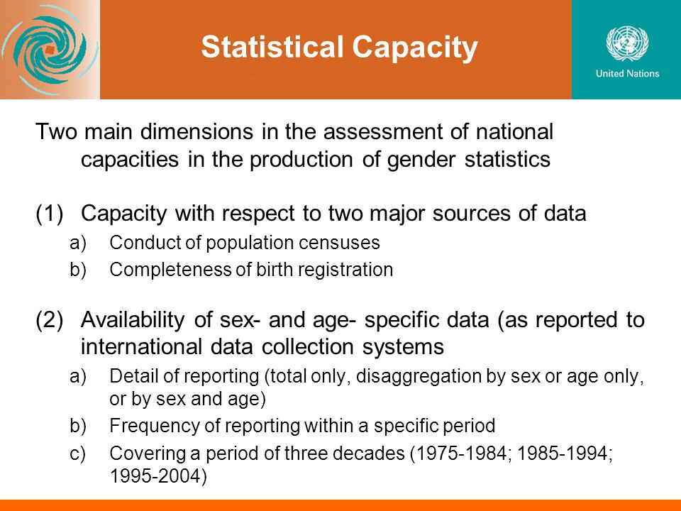 Statistical Capacity Two main dimensions in the assessment of national capacities in the production of gender statistics (1)Capacity with respect to two major sources of data a)Conduct of population censuses b)Completeness of birth registration (2)Availability of sex- and age- specific data (as reported to international data collection systems a)Detail of reporting (total only, disaggregation by sex or age only, or by sex and age) b)Frequency of reporting within a specific period c)Covering a period of three decades (1975-1984; 1985-1994; 1995-2004)