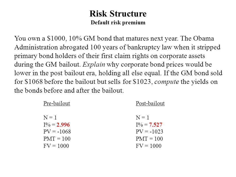 Pre-bailout N = 1 I% = 2.996 PV = -1068 PMT = 100 FV = 1000 Post-bailout N = 1 I% = 7.527 PV = -1023 PMT = 100 FV = 1000 You own a $1000, 10% GM bond