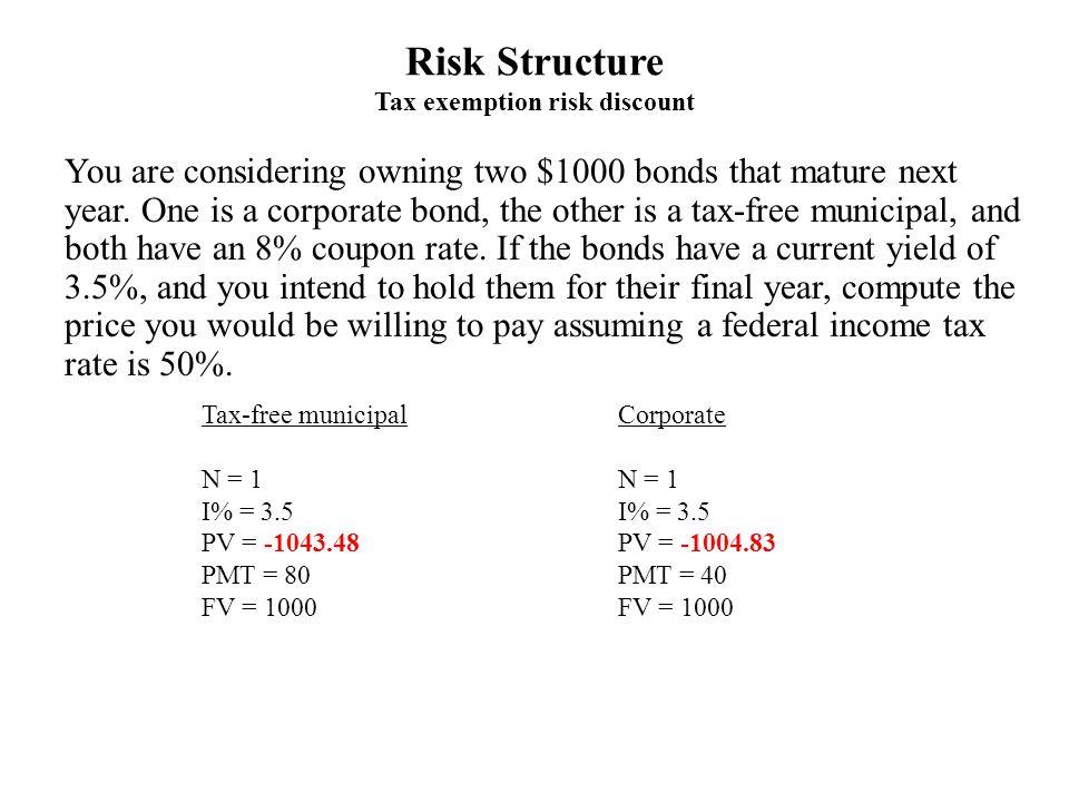 Risk Structure Tax exemption risk discount Tax-free municipal N = 1 I% = 3.5 PV = -1043.48 PMT = 80 FV = 1000 Corporate N = 1 I% = 3.5 PV = -1004.83 PMT = 40 FV = 1000