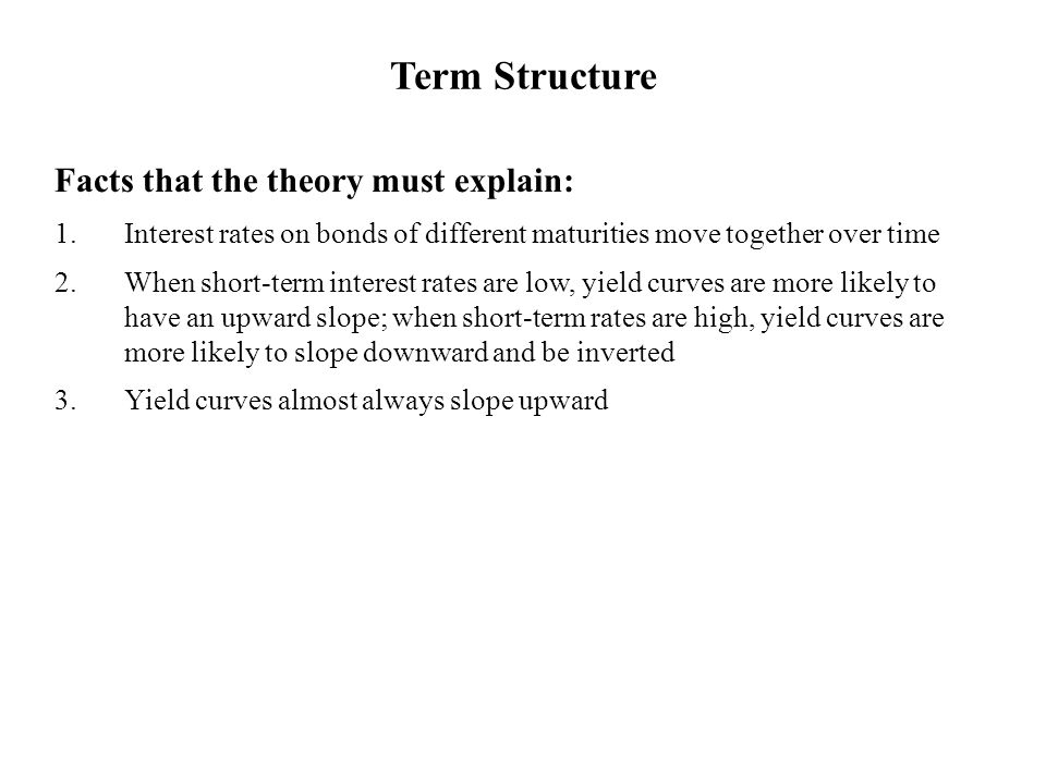 Facts that the theory must explain: 1.Interest rates on bonds of different maturities move together over time 2.When short-term interest rates are low, yield curves are more likely to have an upward slope; when short-term rates are high, yield curves are more likely to slope downward and be inverted 3.Yield curves almost always slope upward Term Structure