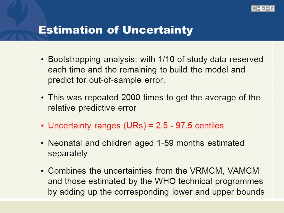 Estimation of Uncertainty Bootstrapping analysis: with 1/10 of study data reserved each time and the remaining to build the model and predict for out-of-sample error.