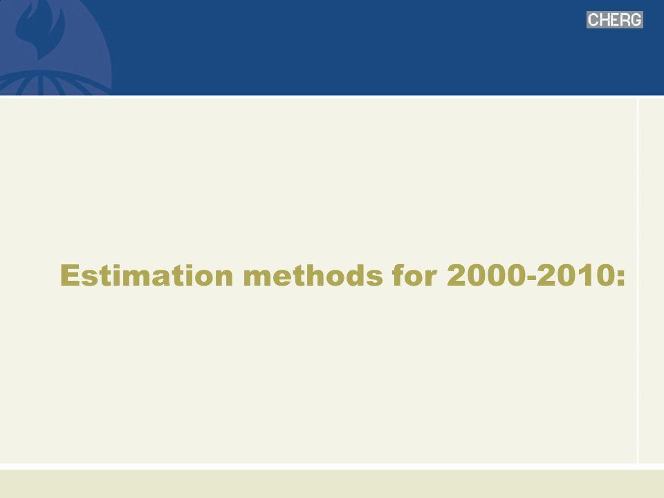 Estimation methods for 2000-2010: