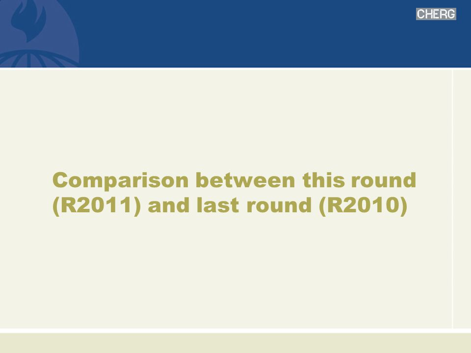 Comparison between this round (R2011) and last round (R2010)