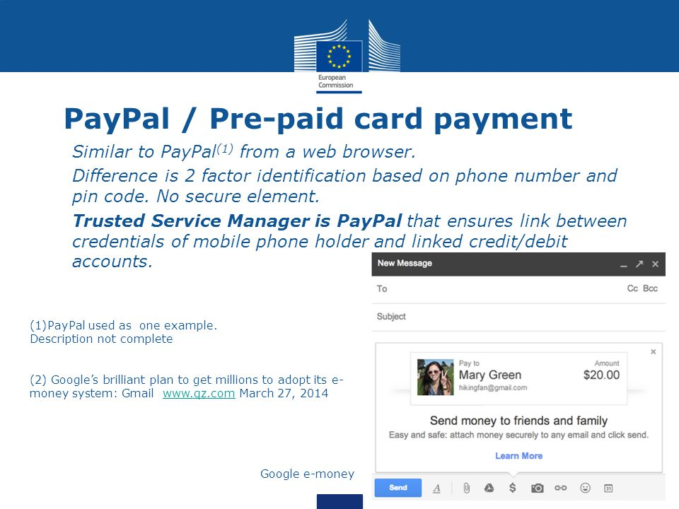 PayPal / Pre-paid card payment Similar to PayPal (1) from a web browser.