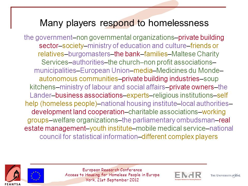 European Research Conference Access to Housing for Homeless People in Europe York, 21st September 2012 Many players respond to homelessness the govern