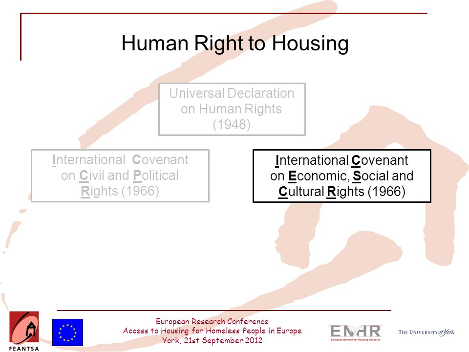 European Research Conference Access to Housing for Homeless People in Europe York, 21st September 2012 Human Right to Housing Universal Declaration on
