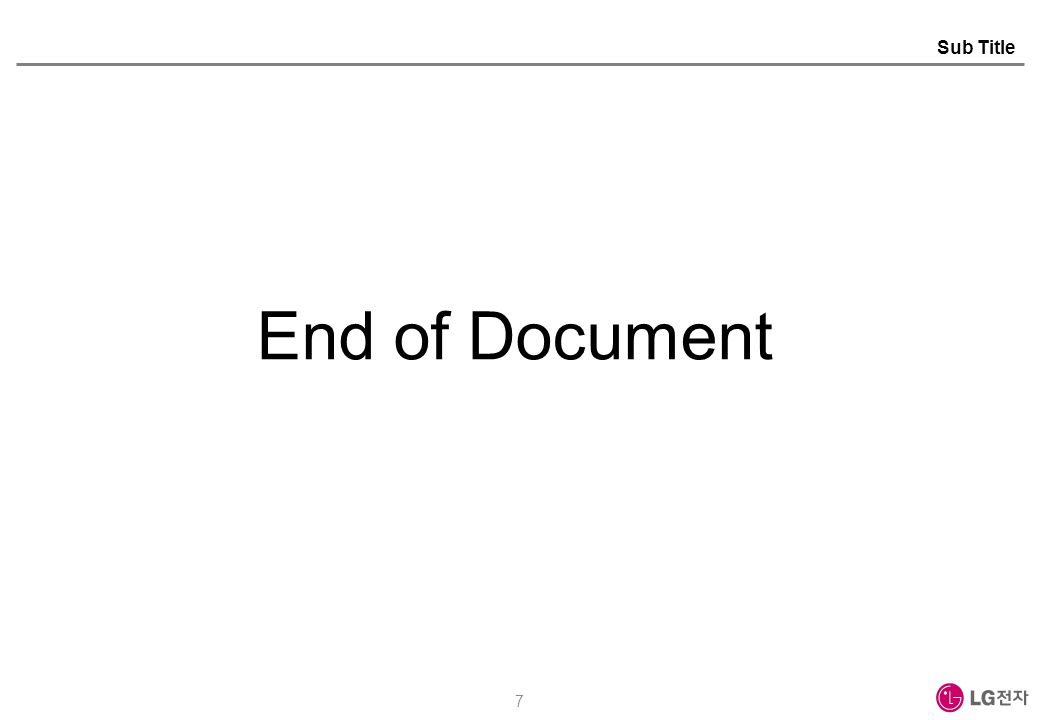 7 End of Document Sub Title
