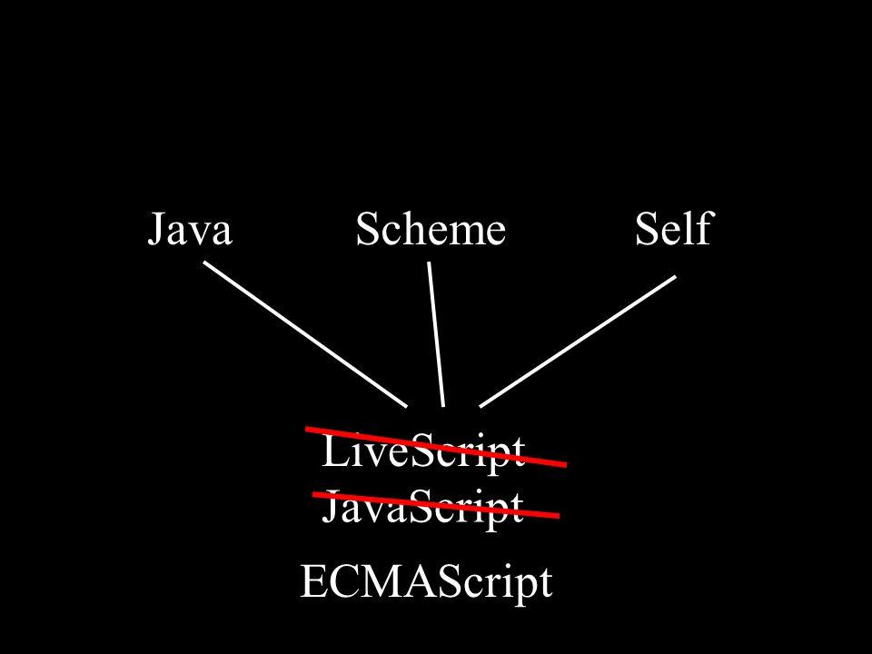SchemeSelfJava LiveScript JavaScript ECMAScript