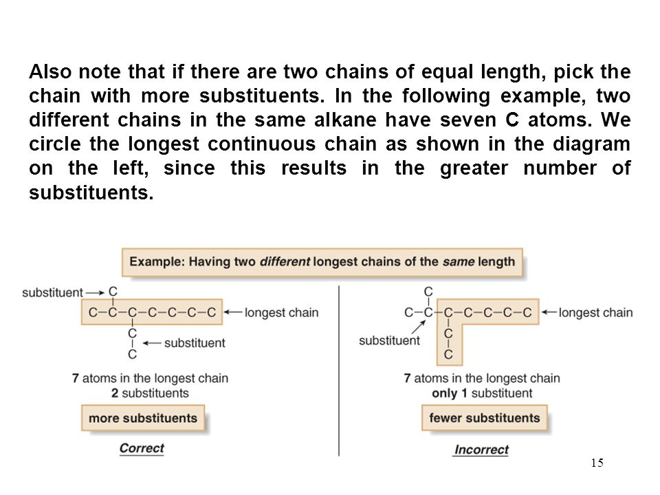 15 Also note that if there are two chains of equal length, pick the chain with more substituents. In the following example, two different chains in th